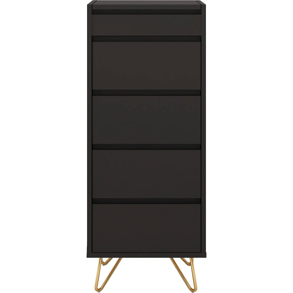 SalesFever Hochkommode, Spiegel im Klappdeckel, Kommode mit Schmuckfach, Schubladenschrank in modernen Farben