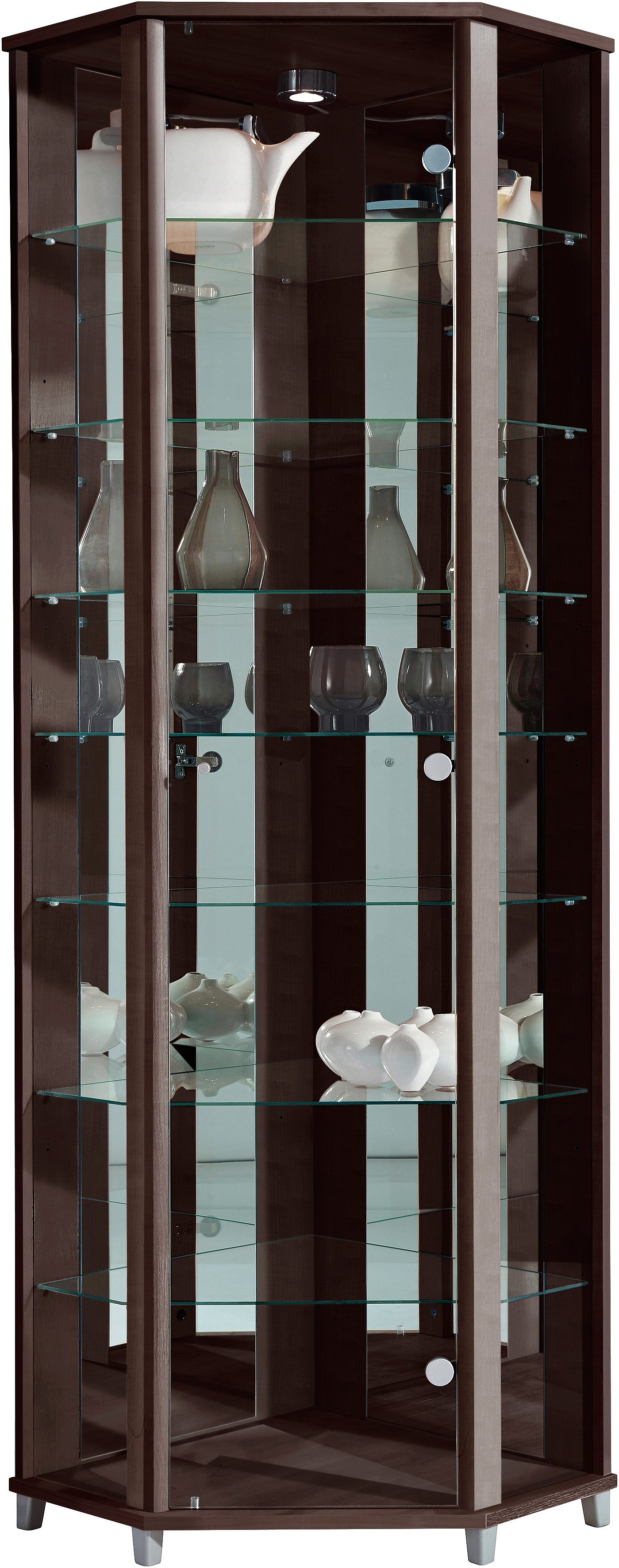 Eckvitrine, Höhe 172 cm, 7 Glasböden | Wohnzimmer > Vitrinen > Eckvitrinen | Braun | Melamin | QUELLE