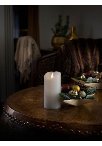 KONSTSMIDE LED-Kerze, LED Echtwachskerze, weiß, mit 3D Flamme, Ø 7,5 cm, Höhe: 15,5 cm kaufen