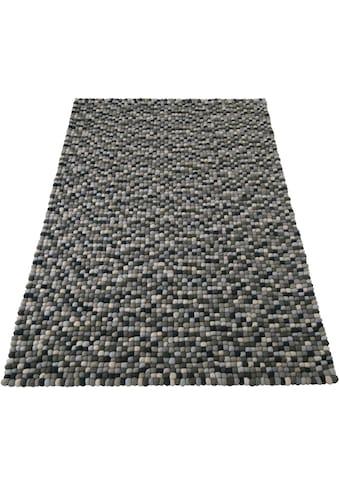 Home affaire Wollteppich »Maja«, rechteckig, 22 mm Höhe, reine Wolle, Filzkugel-Teppich, Wohnzimmer kaufen