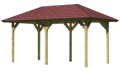Karibu Pavillon »Lillehammer 2«, (Set), BxTxH: 284x491x279 cm, mit roten Dachschindeln kaufen