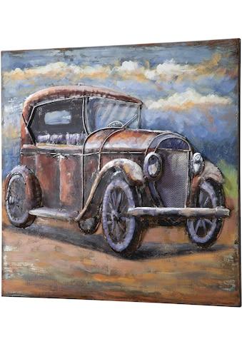 GILDE GALLERY Metallbild »Bild Oldtimer I«, Auto, (1 St.), handgearbeitetes Bild, 60x60 cm, aus Metall, Motiv Oldtimer, Wohnzimmer kaufen
