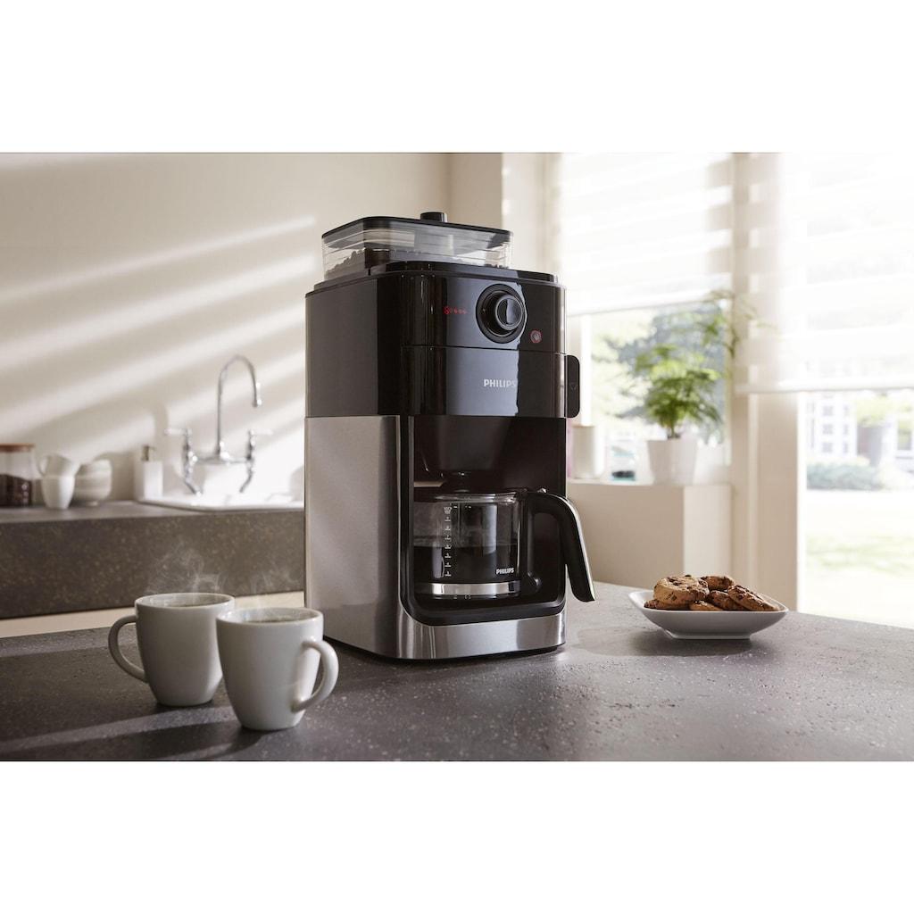 Philips Kaffeemaschine mit Mahlwerk »Grind & Brew HD7767/00«, aromaversiegeltes Bohnenfach, edelstahl/schwarz