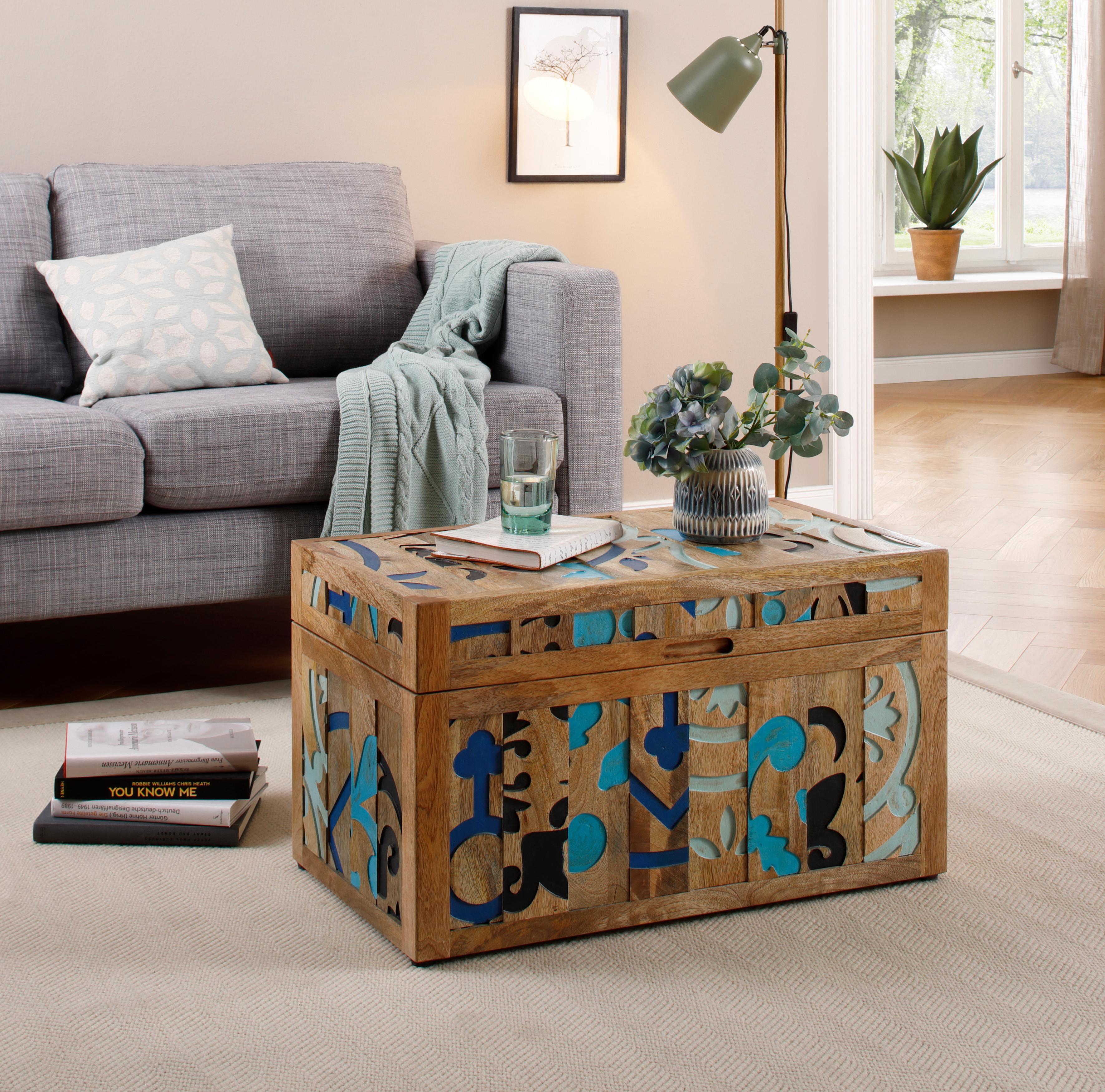 Home affaire Truhentisch »Layer«, aus massivem Mangoholz, mit detailreichen Ornamentenmuster auf dem Korpus, Breite 70 cm | Wohnzimmer > Tische > Truhentische | Braun | HOME AFFAIRE