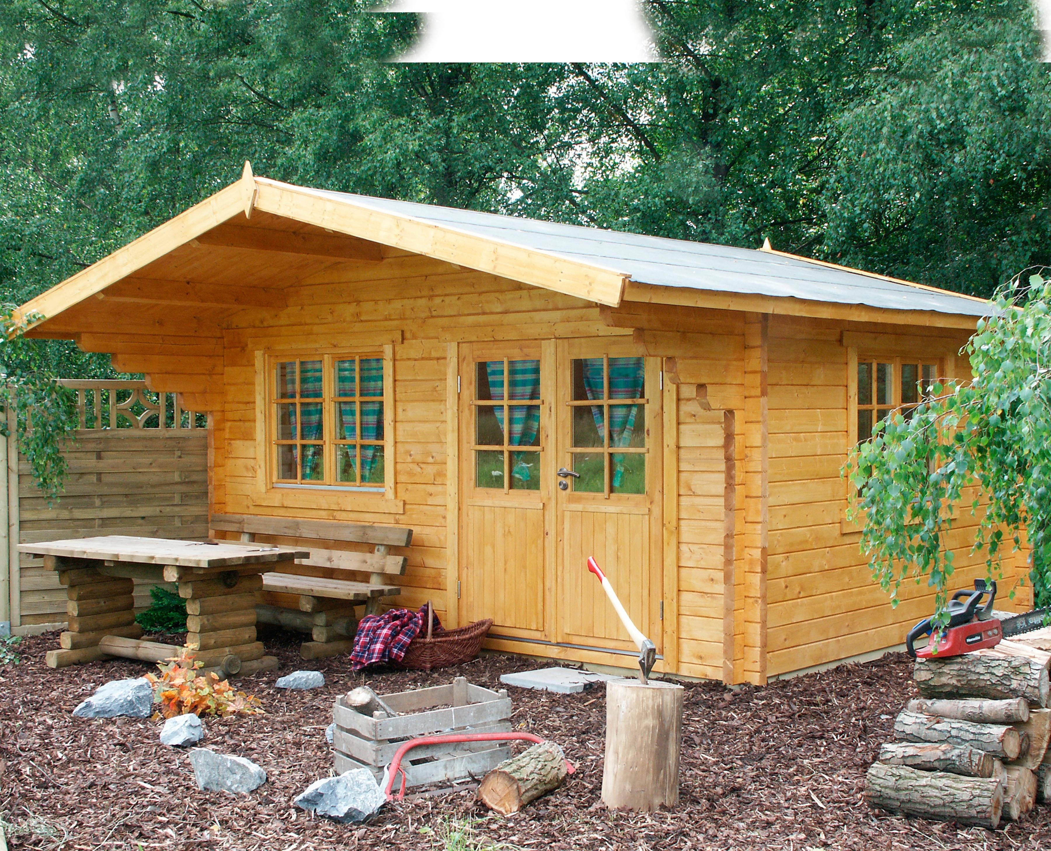 WOLFF FINNHAUS Gartenhaus »Nordkap 70-G«, BxT: 580x640 cm, inkl. Fußboden | Garten > Bodenbeläge-Garten | WOLFF FINNHAUS
