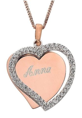 Firetti Kette mit Anhänger »Herz, mit gratis Gravur«, mit Zirkonia kaufen