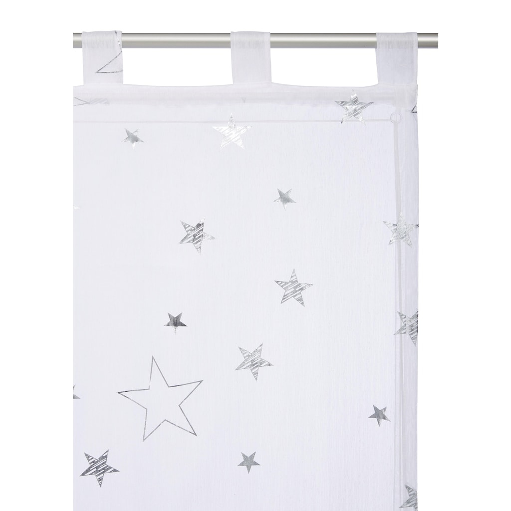 my home Raffrollo »Sterne«, mit Schlaufen, Weihnachtsgardinen