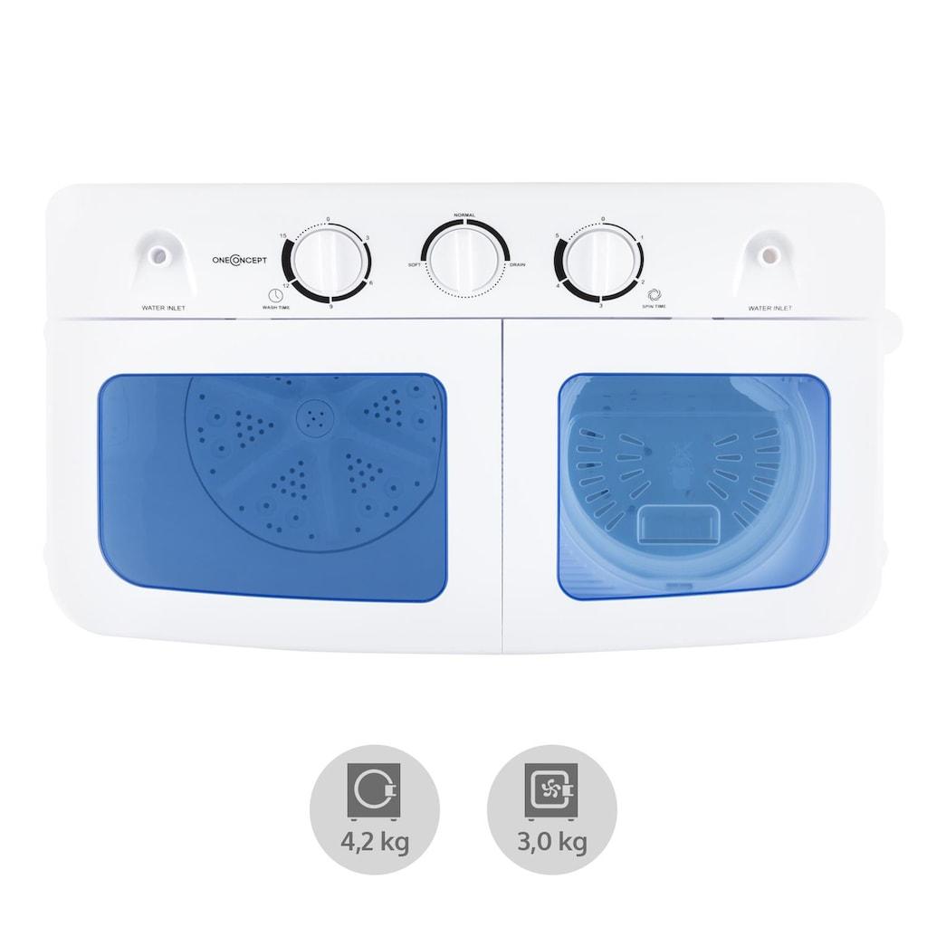 ONECONCEPT XL Camping Waschmaschine Wäscheschleuder Toplader 4,2 kg »Ecowash XL«