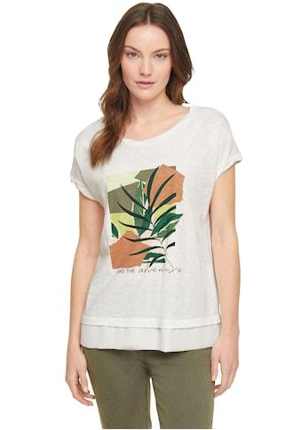 comma casual identity Print-Shirt, mit Chiffonblende in Flammgarnstruktur kaufen