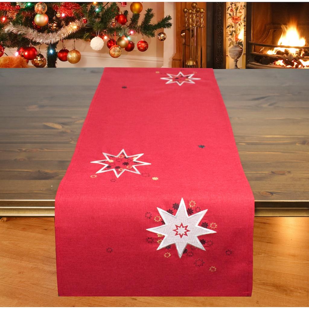 Delindo Lifestyle Tischläufer »Weihnachtssterne«, (1 St.), Glattes Gewebe, bestickt