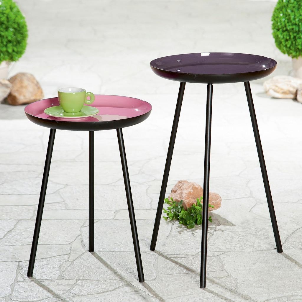 GILDE Beistelltisch »Tisch Celeste«, Dreibein, Höhe 49 cm, rund, Ø 28 cm, aus Metall, schwarz mit farbiger Stellfläche, modern, Wohnzimmer