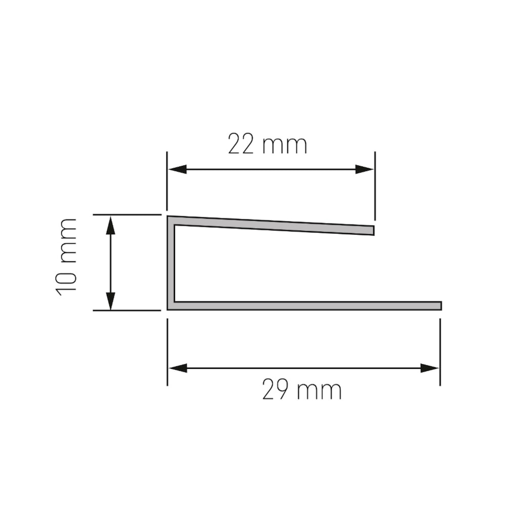 BAUKULIT Set: Abschlussprofil »Fine-Line B2«, U-Abschlussprofil, 2er-Set à 260 cm