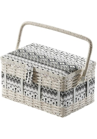 locker Nähkästchen, eckig, aus Kunststoff und Textil mit schwarz weißem Muster kaufen