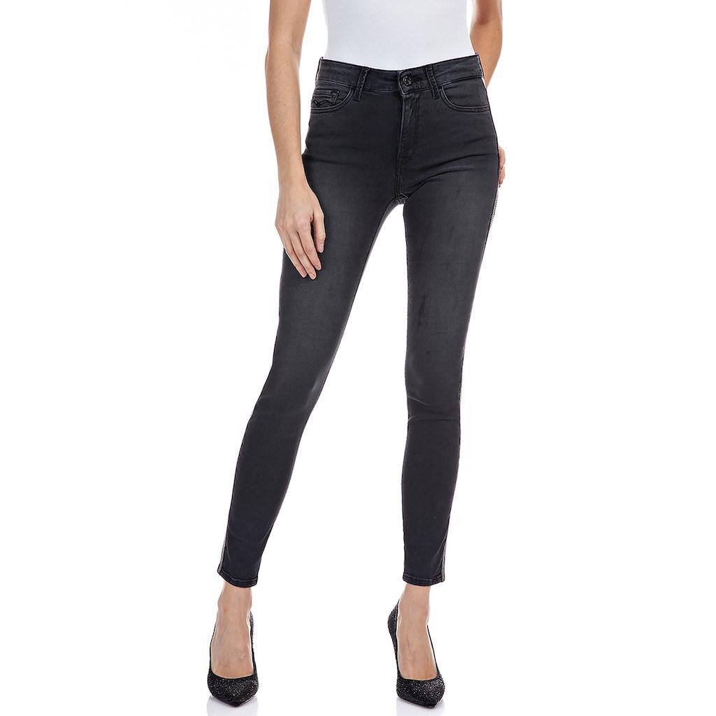 Replay Skinny-fit-Jeans »Luzien«, Power Stretch Sateen mit Gallonstreifen