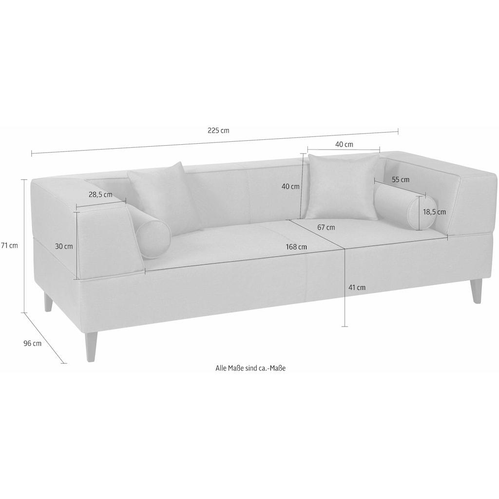 Alte Gerberei 3-Sitzer »Marten«, mit breiten Lehnen, inklusive Zierkissen & Kissenrollen