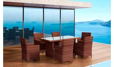 BAIDANI Gartenmöbelset »Elegancy braun«, 13 - tlg., 6 Stühle, Tisch 90x180 cm, Alu/Polyester kaufen