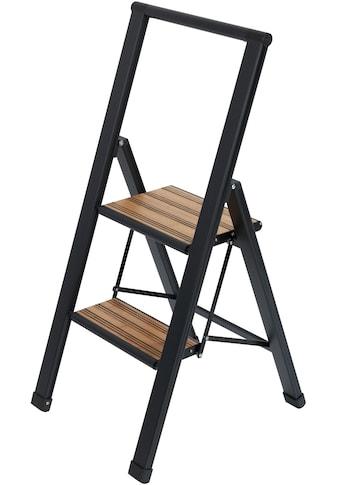 WENKO Trittleiter, Alu-Design, XXL-Stufen, robuster Aluminium in Kombination mit Bambus kaufen