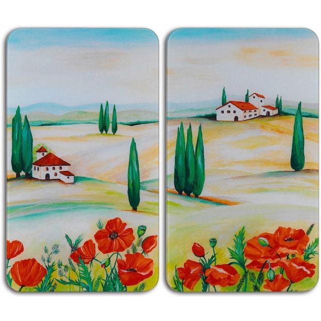 "WENKO Herd-Abdeckplatte ""Toscana"", Glas, (Set, 2-tlg.)"