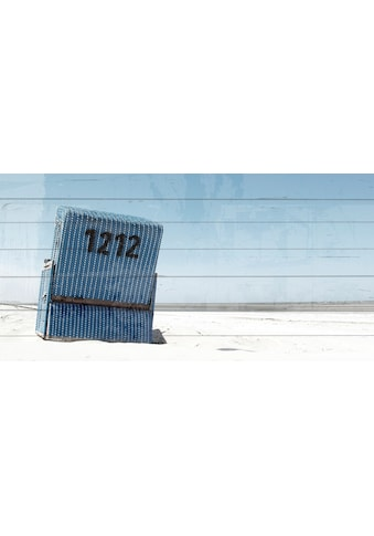 QUEENCE Holzbild »Blauer Strandkorb in Blauem Himmel«, 40x80 cm Echtholz kaufen