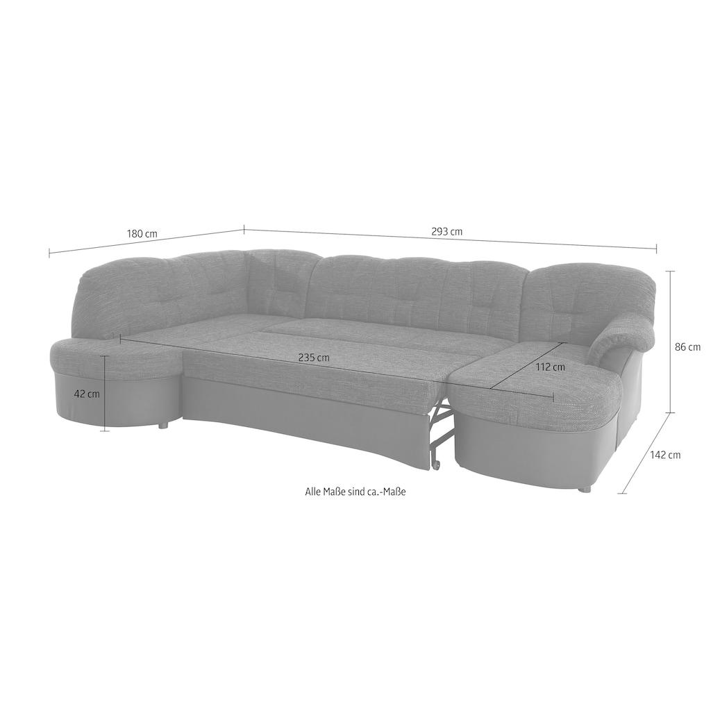 DOMO collection Wohnlandschaft »Flores«, wahlweise mit Bettfunktion, wahlweise mit Federkern (nicht bei Microfaser PRIMABELLE®-Struktur möglich), frei im Raum stellbar