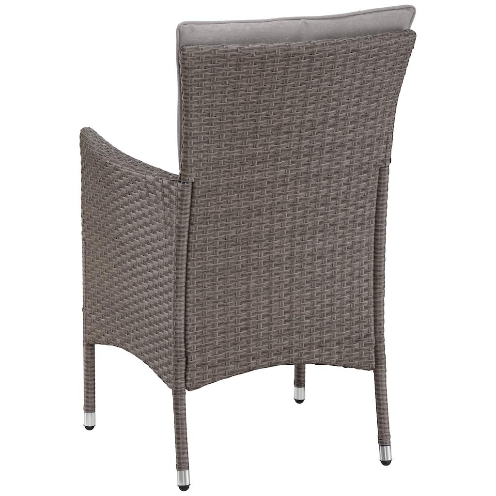 KONIFERA Gartenmöbelset »Mailand«, (7 tlg.), 2 Sessel, Tisch Ø 50 cm, Polyrattan