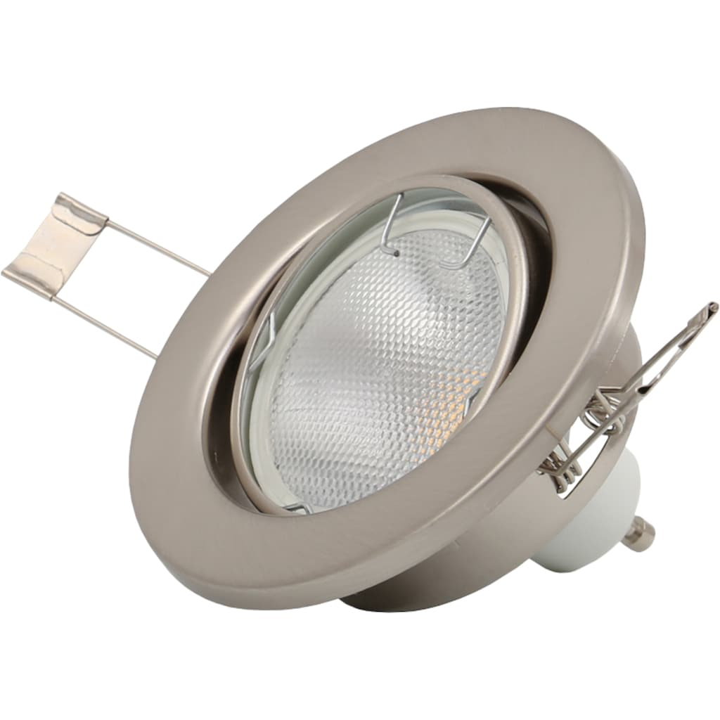 B.K.Licht LED Einbaustrahler, GU10, 10 St., Warmweiß, LED Einbauleuchten schwenkbar Decken-Strahler Einbau-Spots nickel matt GU10