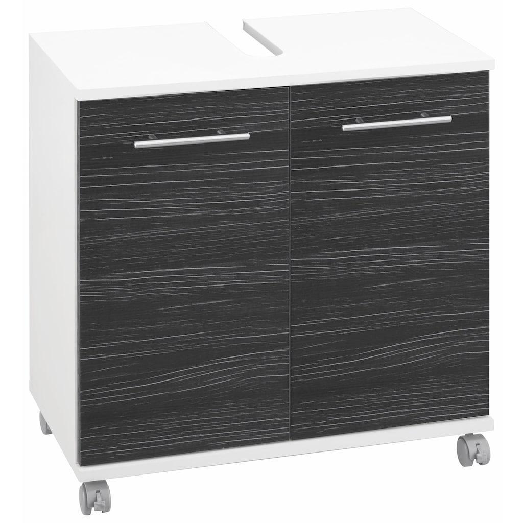 Schildmeyer Waschbeckenunterschrank »Emmi«, Höhe 63,5 cm, Metallgriffe, auf Rollen
