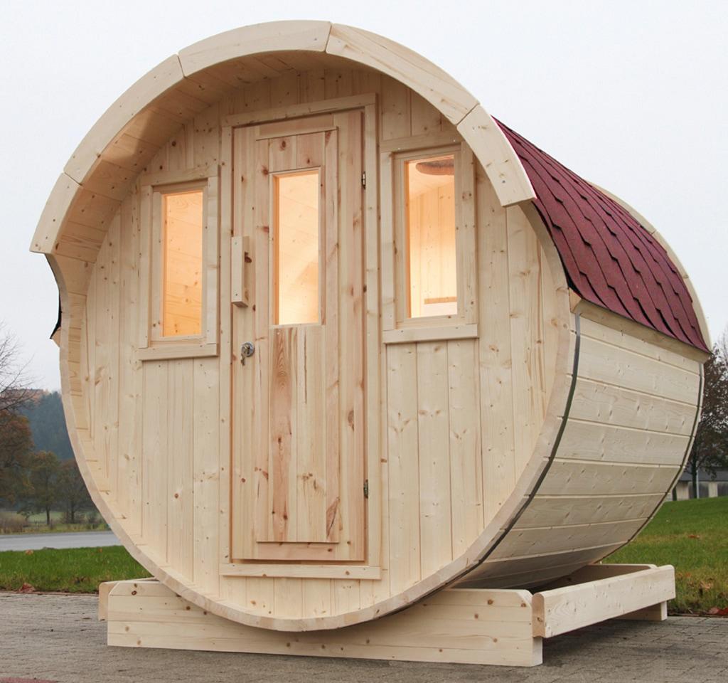 WOLFF FINNHAUS Fasssauna »220«, 205/220/210 cm, rote Schindeln, ohne Ofen | Bad > Sauna & Zubehör > Saunen | Wolff