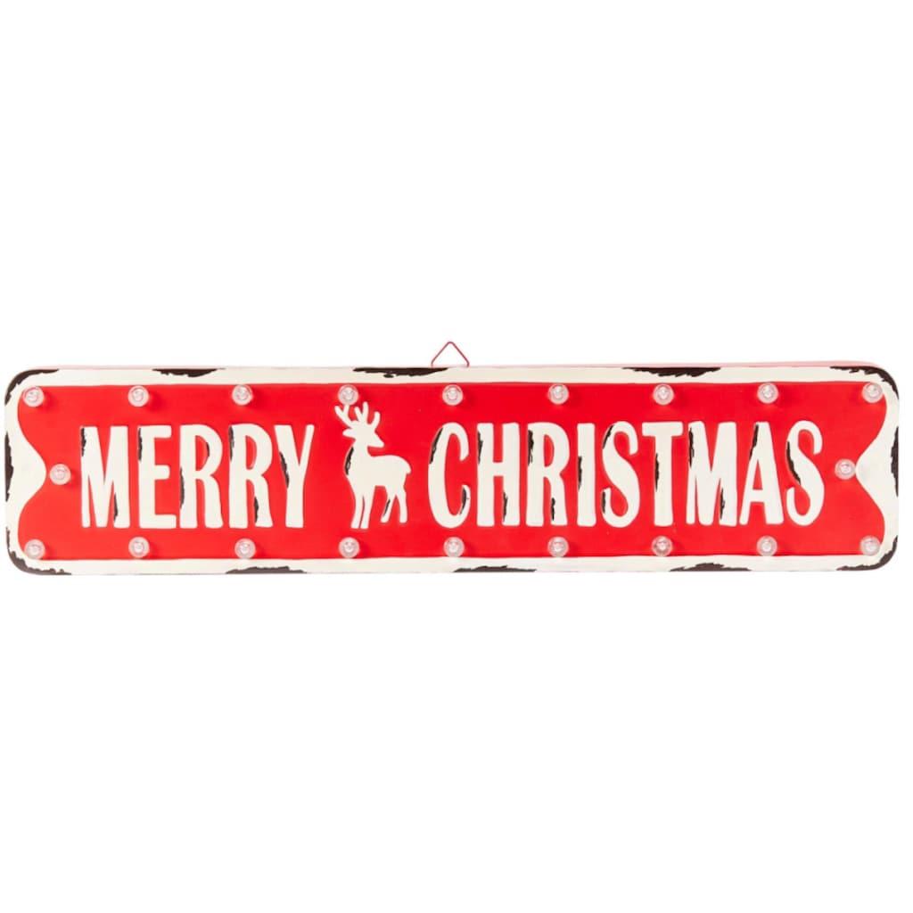 LED Dekoobjekt »Merry Christmas - Schild«, Warmweiß, Batteriebetrieb
