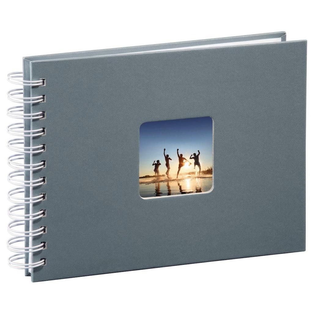 Hama Spiralalbum 24 x 17 cm, 50 weiße Seiten, Fotoalbum, grau