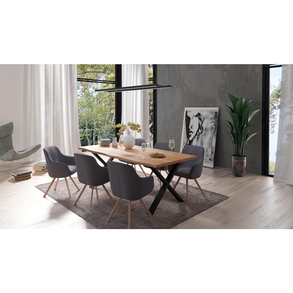 Homexperts Essgruppe »Lesley + Carlo«, (Set, 5-tlg oder 7tlg.), Baumkantentisch Breite 160 oder 200cm und 4 oder 6 Polsterstühlen mit Drehfunktion, Bezug in Webstoff
