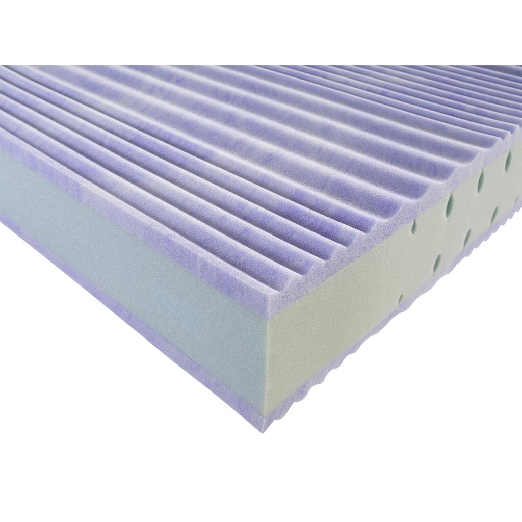 OTTO products Gelschaummatratze »Viarinna«, 25 cm cm hoch, Raumgewicht: 30 kg/m³, (1 St.), 7-Zonen Komfortschaumkern mit 4 cm Gelschaumauflage und speziellen Einschnitten im Schulter- und Beckenbereich für erholsame Nächte