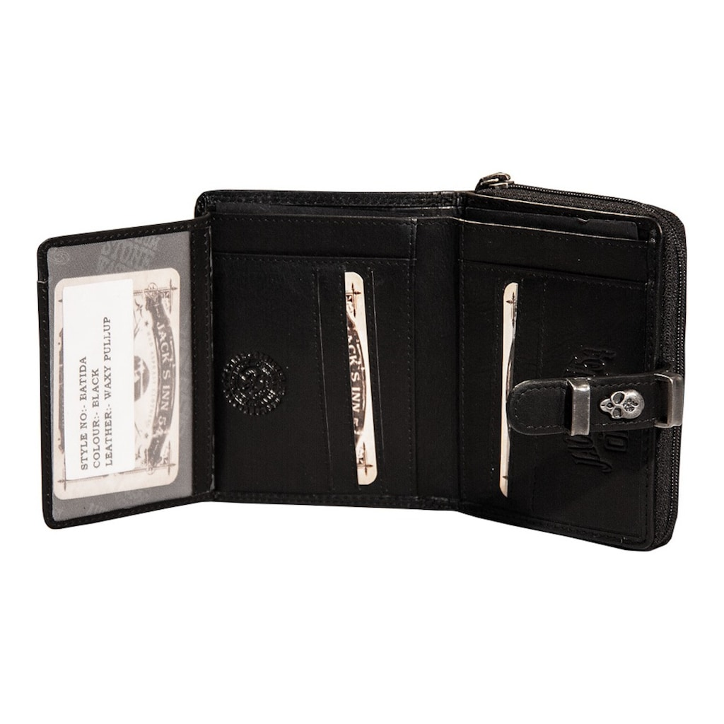 JACK'S INN 54 Geldbörse »Batida«, aus Leder mit coolem Totonkopf-Verzierung