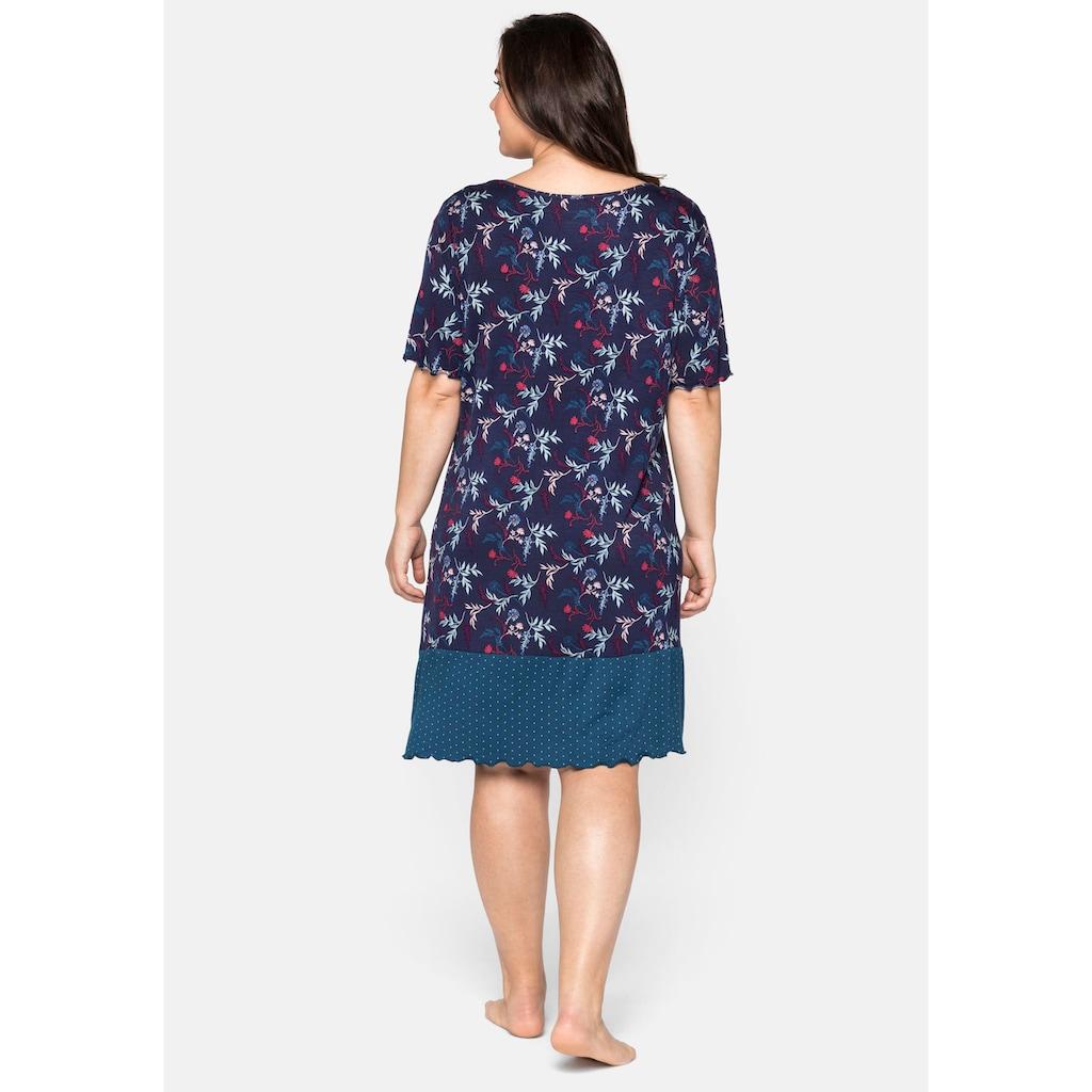 Sheego Nachthemd, im Mustermix, mit V- Ausschnitt