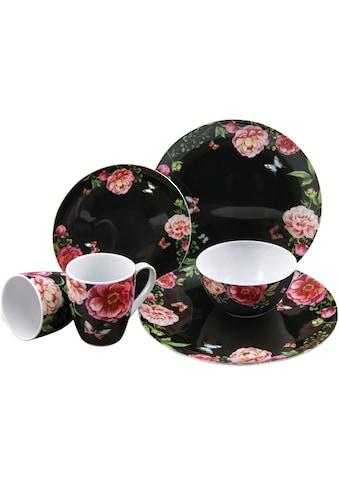 CreaTable Kombiservice »Enjoy Roses, schwarz«, (Set, 16 tlg.) kaufen