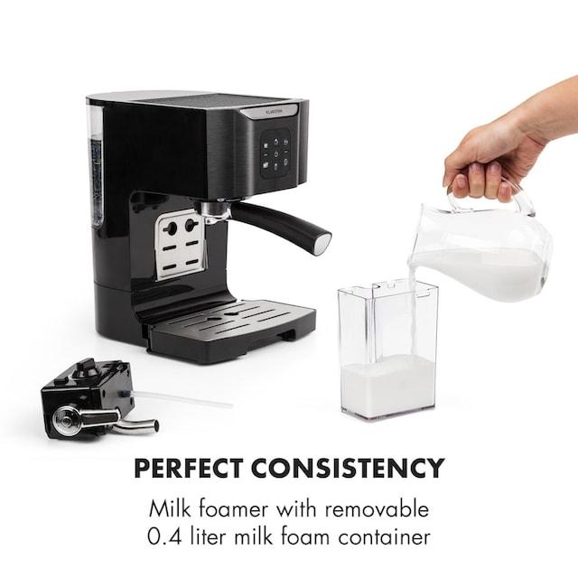 Klarstein Kaffeemaschine 1450 W 20 Bar Milchschäumer 3in1 schwarz »BellaVita«