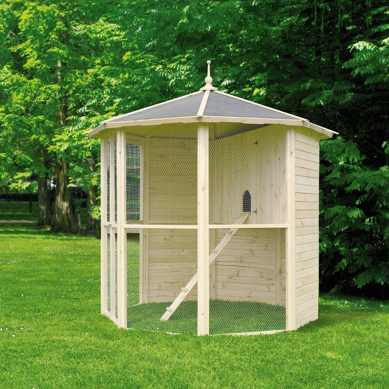 PROMADINO Voliere »8-eck«, mit Vogelkäfig, B/T/H: 232/232/250 cm | Garten > Tiermöbel > Vogelkäfige-Volieren | Natur | Kiefernholz | PROMADINO