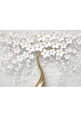 CONSALNET Papiertapete »Goldener Baum mit Blütten«, in verschiedenen Größen kaufen