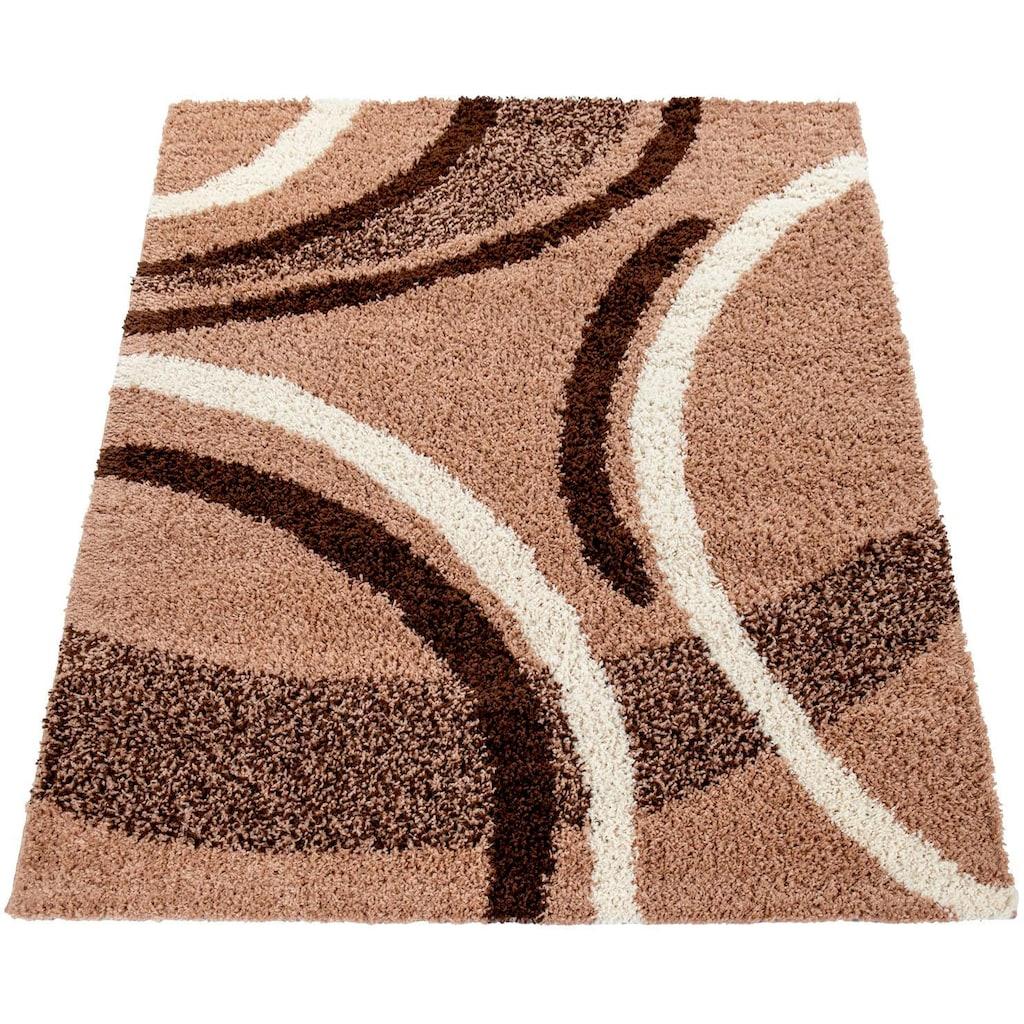 Paco Home Hochflor-Teppich »Mango 301«, rechteckig, 35 mm Höhe, Moderner Hochflor Shaggy Teppich, Wohnzimmer