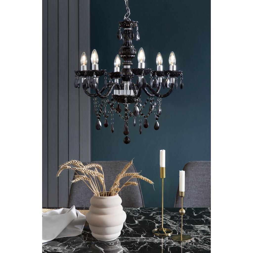 SalesFever Kronleuchter »Matteo«, E14, 6 Flammen aus schwarzem Acryl-Glas