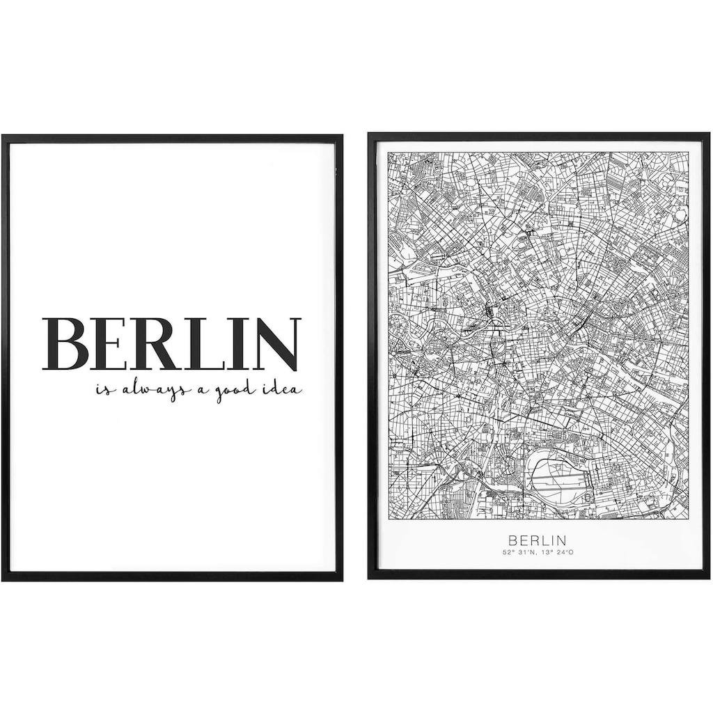 Wall-Art Poster »Berlin is always a good idea«, (Set, 2 St.), mit Rahmen