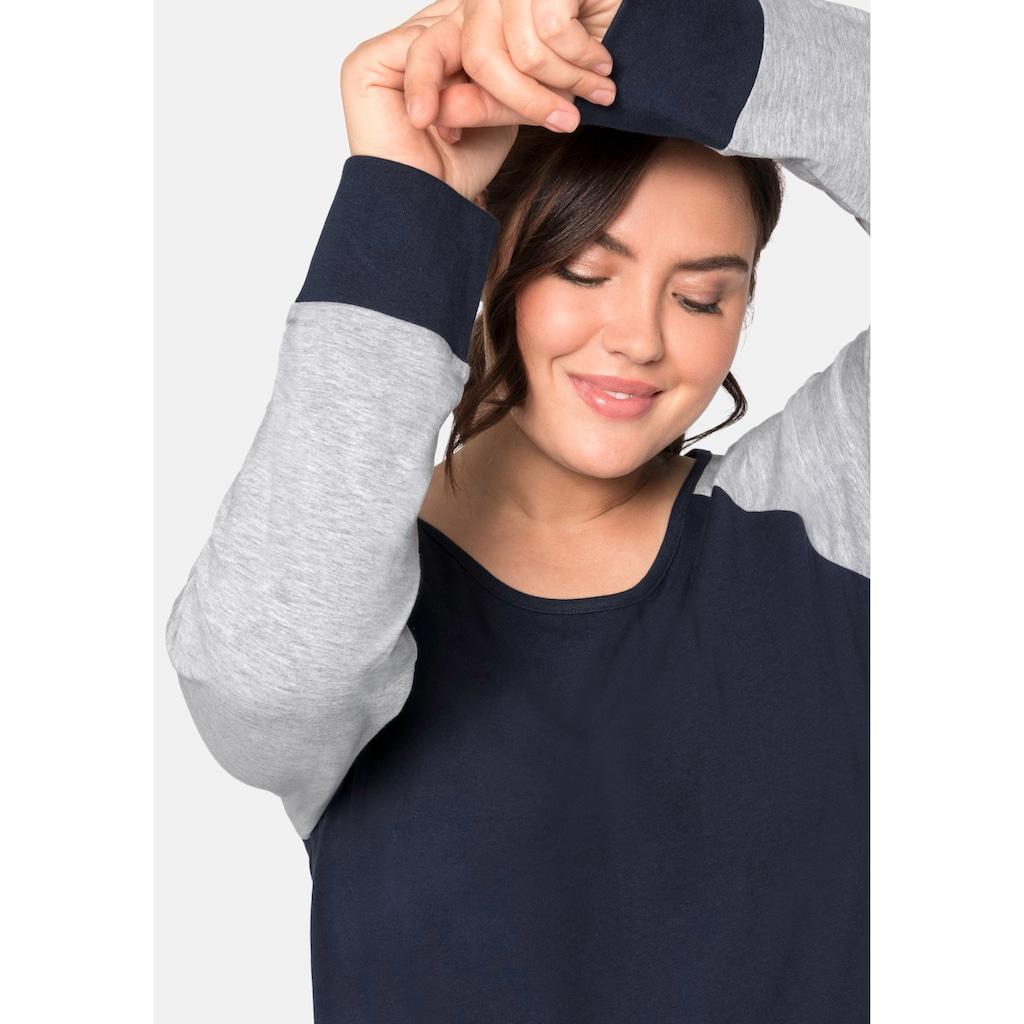 Sheego Nachthemd, mit rundem Ausschnitt und reglanärmeln