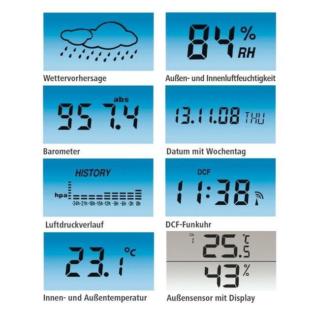 Hama Funk Wetterstation mit Außensensor, Hygrometer, Thermometer »und Barometer, Funkuhr«