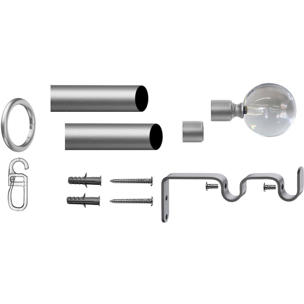 indeko Gardinenstange »Kugel Glas klar«, 2 läufig-läufig, Fixmaß