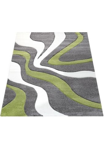 Paco Home Teppich »Diamond 760«, rechteckig, 18 mm Höhe, 3D-Design, Kurzflor mit Wellen Muster, Wohnzimmer kaufen