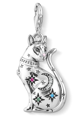 THOMAS SABO Charm-Einhänger »Katze Sternenbild silber, 1839-340-7«, mit Emaille, synth. Korund, Glassteinen und Zirkonia kaufen
