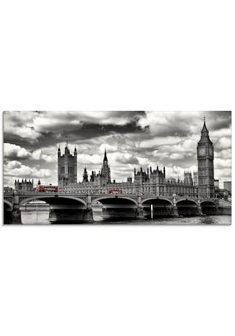 Artland Glasbild »London Westminster Bridge & Red Buses«, Großbritannien, (1 St.) kaufen