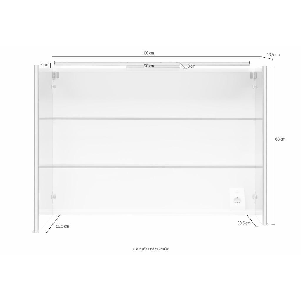 MARLIN Spiegelschrank »Sola 3130«, mit LED Beleuchtung, Breite 100 cm, vormontiert