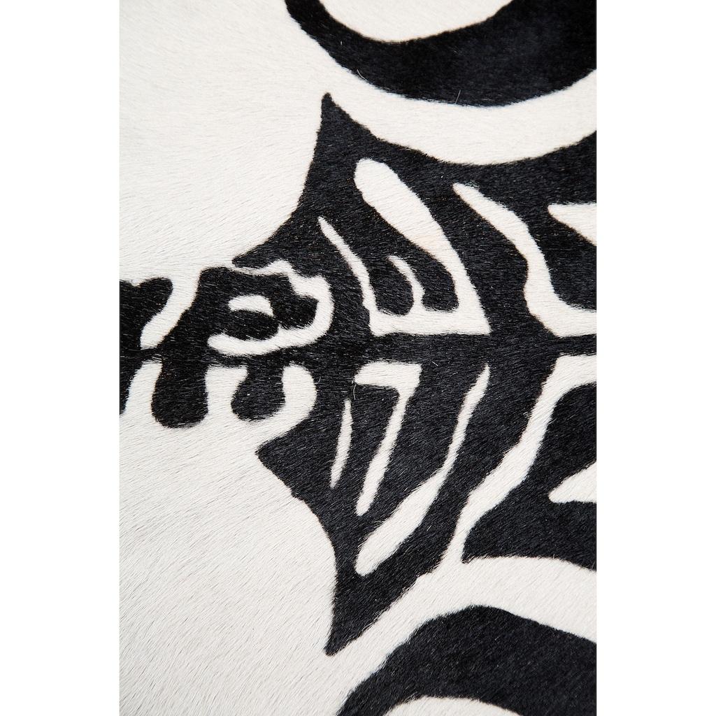 Trendline Fellteppich »Zebra«, fellförmig, 3 mm Höhe, echtes bedrucktes Rinderfell, Zebra-Optik, Wohnzimmer