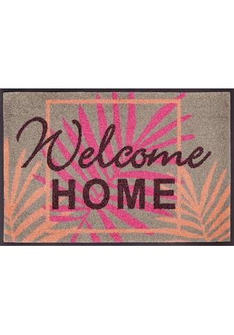 wash+dry by Kleen-Tex Fußmatte »Paradise Home«, rechteckig, 7 mm Höhe, Fussabstreifer, Fussabtreter, Schmutzfangläufer, Schmutzfangmatte, Schmutzfangteppich, Schmutzmatte, Türmatte, Türvorleger, mit Spruch, In- und Outdoor geeignet, waschbar kaufen